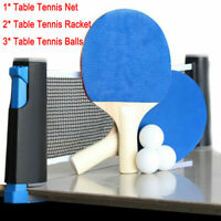 Table Tennis Ping Pong Set 2x Paddle Bats & 3Balls Extending Net Portable uk