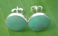 REAL 925 sterling silver Turquoise Flat 10mm round Studs Earrings - GIRL WOMEN