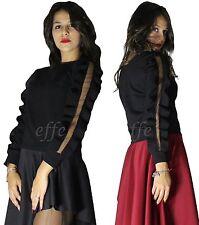 Maglia donna Chiffon manica velata trasparente lunga sexy casual nuovo 192