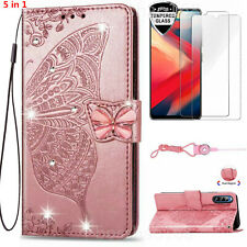 5 in 1 Bling Butterfly Wallet Phone Case With 2 Glass Screen Protectors For Moto