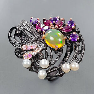 Handmade jewelry Opal Ring Silver 925 Sterling  Size 8.25 /R171902