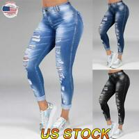 Women's Fashion Skinny Ripped Stretch Jeans High Waist Denim Pants Trousers US
