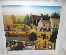 "Edward Hicks Print Residence of David Twining 1787 Folk Art 27"" by 24"""