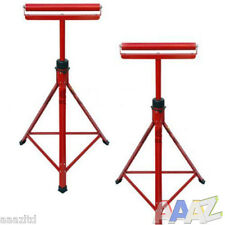 "2 X METAL ROLLER STANDS REST WOODWORKING 27"" -47"" ADJUSTABLE STURDY WOOD"