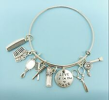 Love is in the Hair Stylist Hair Dresser Bangle Bracelet Silver Charm Bracelet
