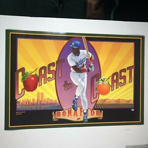 "DARRYL STRAWBERRY COAST TO COAST POSTER NIKE VINTAGE DODGERS 1991 36""x24"""