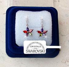 Fiori pendenti Orecchini donna pl. oro bianco 18K cristalli swarovski SW7 colora