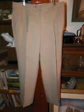 MEETING STREET Mens Tan Pure Worsted Wool Cuffed Pleated Dress Pants 36 x 29