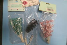 lot 3 packages miniature artificial bead flowers wire stems floral bridal crafts