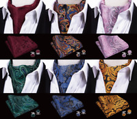 Mens Ascot Cravat Silk Burgundy Red Black Blue Pink Gold Paisley Set Wedding
