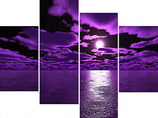 Purple Sea Black Sky Super Multi 4 Panel Set Canvas Picture Wall Art Prints
