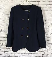 Vintage 80's Emanuel Ungaro Parallele Paris Wool Navy Jacket Blazer Size 8