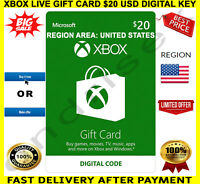 XBOX Live Gift Card $20 USD - XBOX ONE / XBOX 360 🔑 REGION USA ✅ FREE P&P 🎁