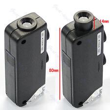 Nice Mini LED Handheld Adjustable 60x 100x Pocket Microscope Magnifer Loupe