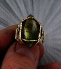 Labradorite Gemstone Ring in Sterling Silver and 14kt Rolled Gold  5 TO 15