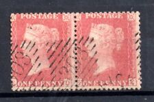 GB QV 1d pale red pair SG38 Superb used in Ireland WS21110
