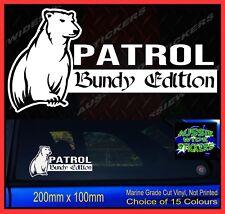 PATROL Stickers gu Bundy Edition Bundaberg Rum Bear Car 4x4 Sticker 200mm