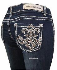 Miss Chic Size 11, Boot Cut Rhinestone Fleur De Lis Jeans MC3616C NWT