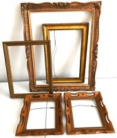 "Vtg Wood Picture Frames Copper Gold Ornate Carved 17.75"" Wall Hang Lot 5"