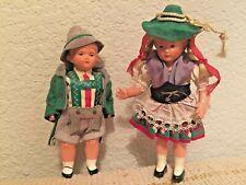 "Celluloid Hard Plastic Vintage Swiss Alpine Costume Girl & Boy 5.5"""