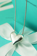 "AUTHENTIC Tiffany & Co. Puffed Heart Pendant Necklace 18"" (#799)"