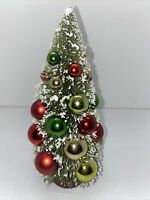 "Retro Vintage Style Bottle Brush Tree Green Glitter Decorated Christmas-9""- New"