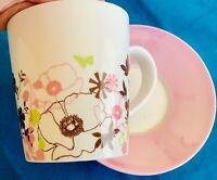 STARBUCKS 2006 11oz Pink Floral Latte Coffee Mug  Tea Cup & Saucer