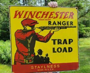 LARGE VINTAGE WINCHESTER RANGER AMMUNITION PORCELAIN AMMO GUN HUNTING SIGN