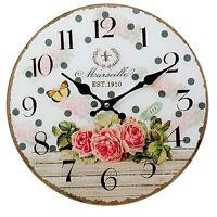 Clayre&Eef Vintage Wanduhr Deko Uhr Landhaus Shabby Roses Shabby Glas 30cm deko