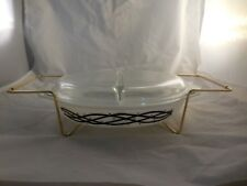 Vintage Pyrex Barbed Wire Cinderella Divided Dish Oval Lid and Cradle 1 1/2 QT