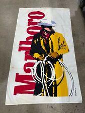 Vintage 90s Marlboro Man Cowboy Beach Towel White Tobacco Advertising Promo