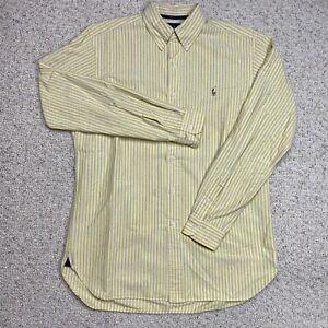 Ralph Lauren Mens Dress Shirt sz M Yellow Striped Classic Fit Button Down Collar