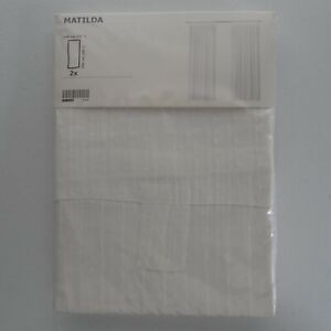 "NEW Ikea Matilda Curtain Pair Set White Sheer 98"" Panel Window Drapes 101.119.84"