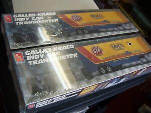 galles-kraco indy car transporter model kits,amt,1/25,ertl,lot of 2,semitrailers