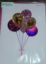 PAPYRUS BCRF FOUNDATION 3D GEMMED BALLOONS  BIRTHDAY CARD PINK