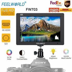 "Feelworld FW703 4K 7"" IPS LED 3G-SDI HDMI Video Monitor 1920x1200 For Sony DSLR"