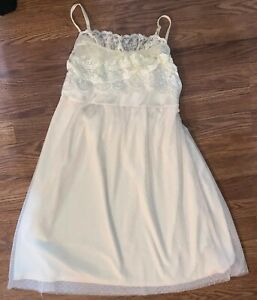 Anthropologie A'reve Womens Small Cream Sleeveless Lace Dress Ruffle *Repaired