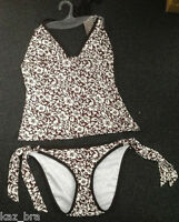 White & Brown Tankini Set UK 14 for B or C cups Halter Neck New ladies swimwear