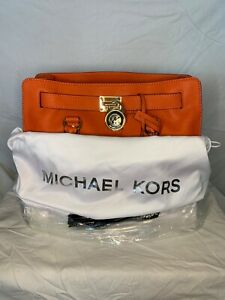 MICHAEL KORS HAMILTON LARGE NS ORANGE SAFFIANO LEATHER TOTE BAG PURSE