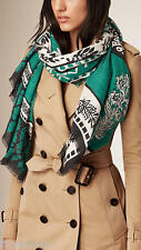 ❗️  Burberry $995 Prorsum Patchwork Floral Geo Print Cashmere Scarf DUSTY TEAL
