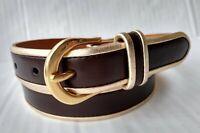 """Women's Lauren Ralph Lauren 1"""" Italian Leather Brown Gold Trim Brass Belt size S"""