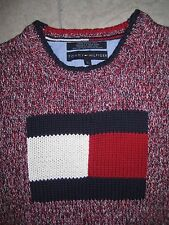 TOMMY HILFIGER Knit Big Logo Red White Blue Sweater Pullover LARGE 100% Cot USED