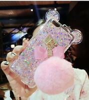 Cute Rabbit Fur Ball Plush Bowknot Bling Glitter Soft Case Cover For iPhone