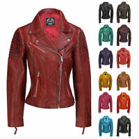 Womens Vintage Slim Fitted Soft Real Leather Ladies Biker Jacket UK Size 6 – 24