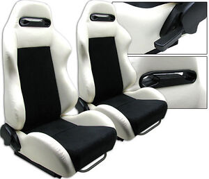 NEW 1 PAIR WHITE PVC LEATHER & BLACK SUEDE ADJUSTABLE RACING SEATS FOR FORD **