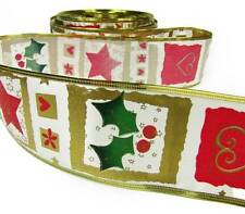 """Sale ! - 5 Yards Christmas Seconds Holiday Symbols Wired Ribbon 2 1/2""""W"""
