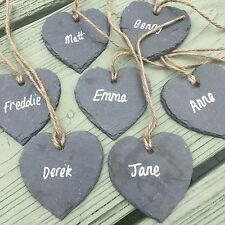 40 Slate Heart Wedding Favours 7cm Hanging Sign Tag Label Place Plant Marker