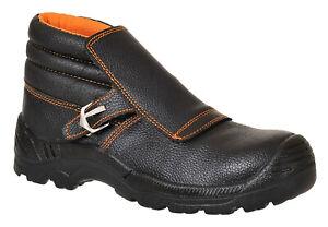 Welders Welding Safety Boots Steel Toe Cap Leather Flap Work Shoes FW07 Size