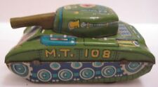 "Old Tin Friction Toy Army Tank 2  3/4"" Japan 1950s as is"