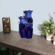 "Sunnydaze Tiered Blue Ceramic Glazed Pitchers Indoor Tabletop Fountain - 11"""